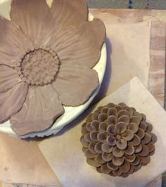 Pottery and Paint: Two flowers (still in progress)