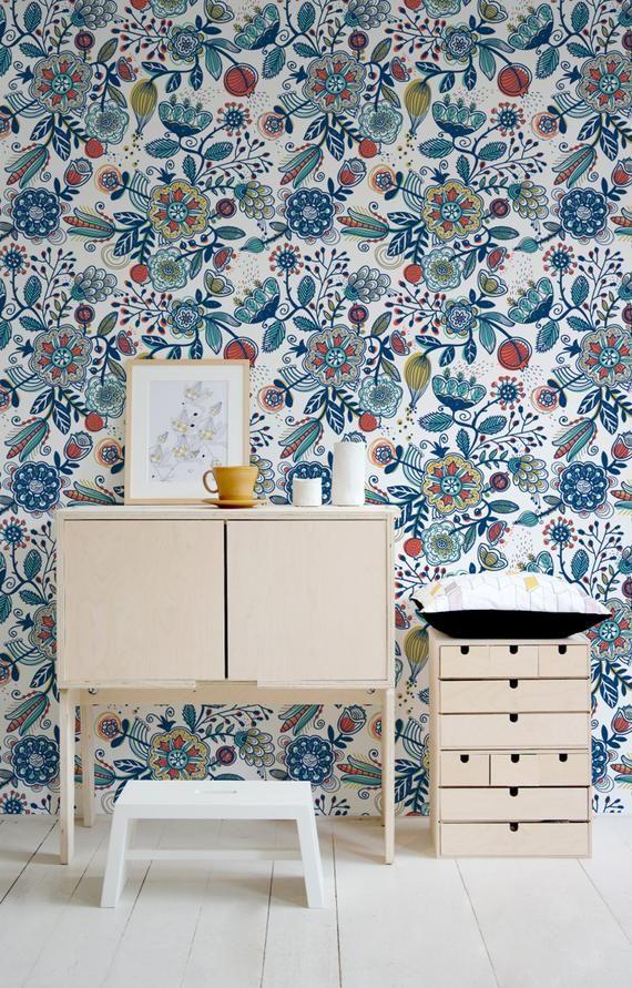 Boho Wallpaper Boho Wall Mural Boho Style Peel And Stick Etsy Boho Wallpaper Removable Wallpaper Wall Murals