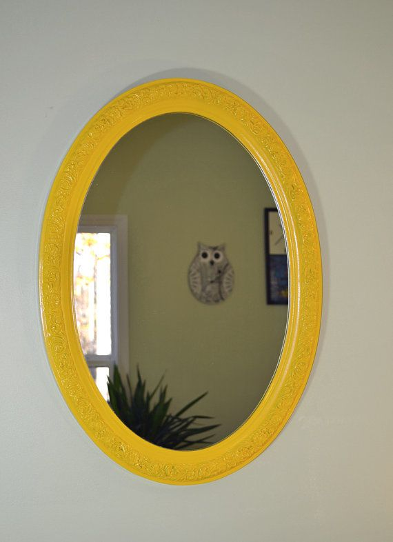 Like the detail and color - Vintage Oval Ornate Yellow Wall Mirror Frame by TheVintageBirds, $78.00