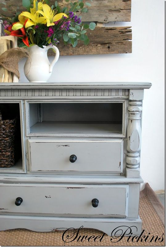 Amazing Dresser Turned Into TV Stand. I Like The Color And The Distressing