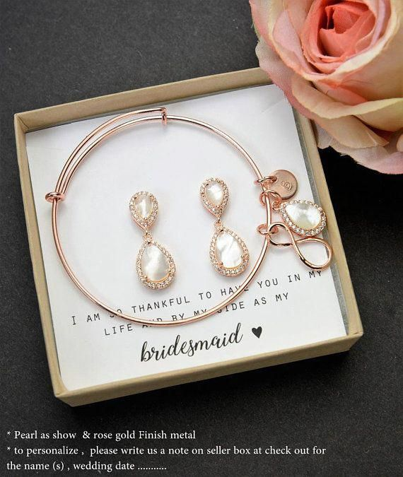 84aed828b Rose gold Bridesmaid Earrings Bridesmaid Gifts set 4 5 6 pearl drop wedding  stud custom bridal