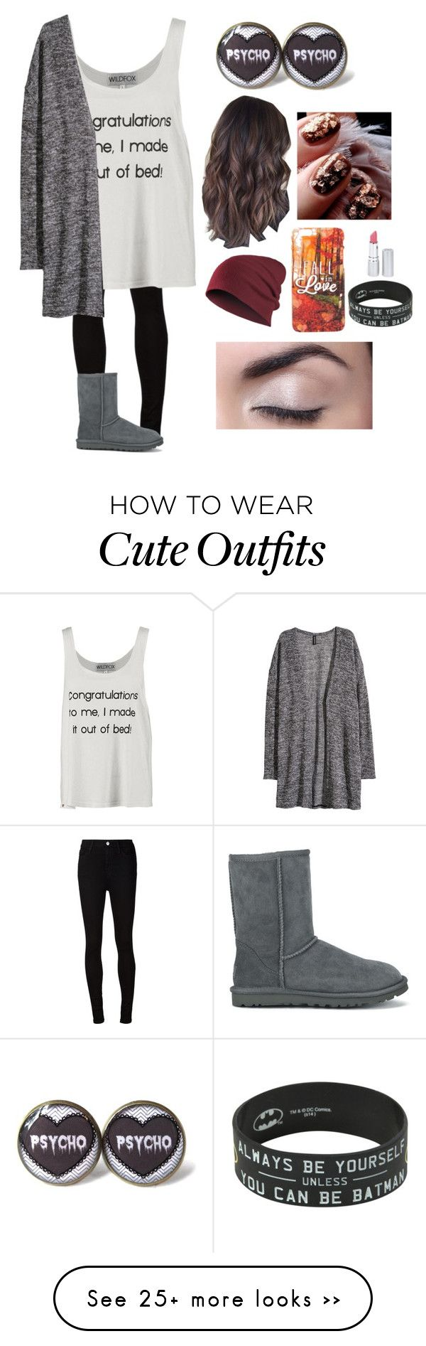 """Fall Outfit 1 <3"" by weirdlikethat on Polyvore featuring AG Adriano Goldschmied, Wildfox, H&M, HoneyBee Gardens and UGG Australia"
