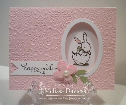 Peek-A-Boo Easter- Pink embossed front with oval cut. Underneath you see the bunny/egg image.