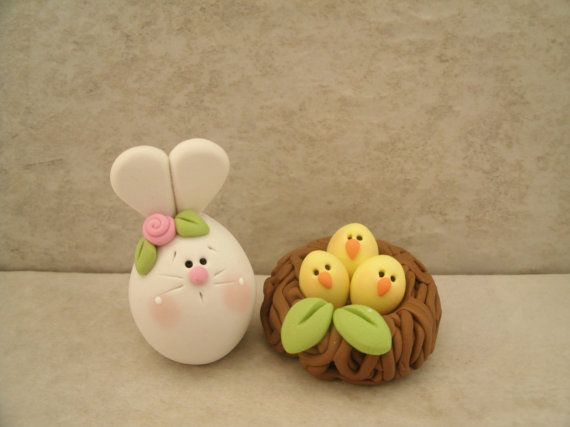 Bunny and Nest of Chicks Figurine by countrycupboardclay on Etsy