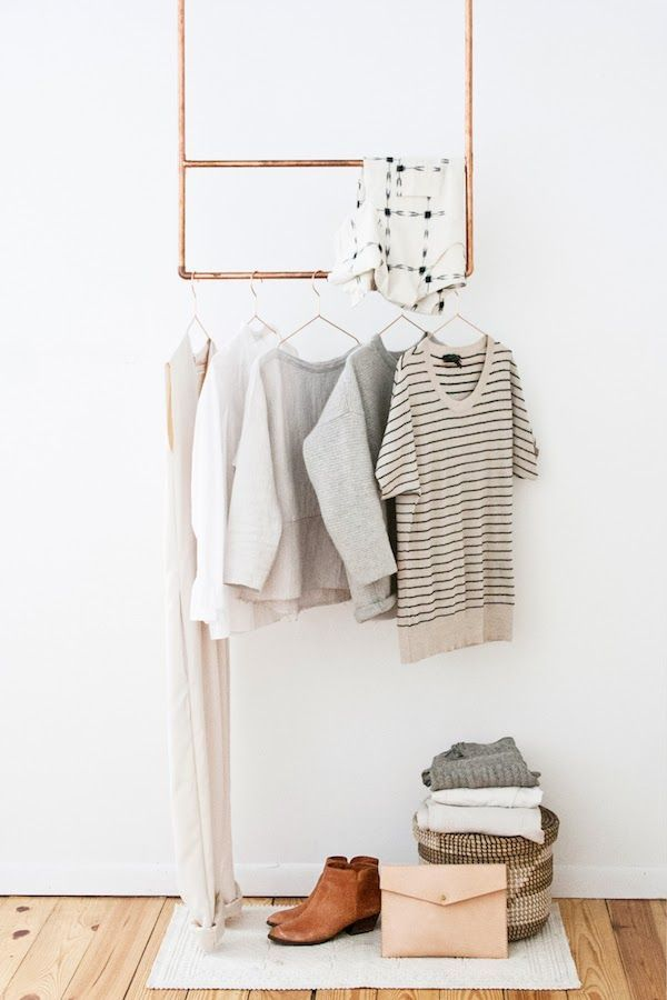 Copper clothes rack. This wouldn't be too difficult to fashion!
