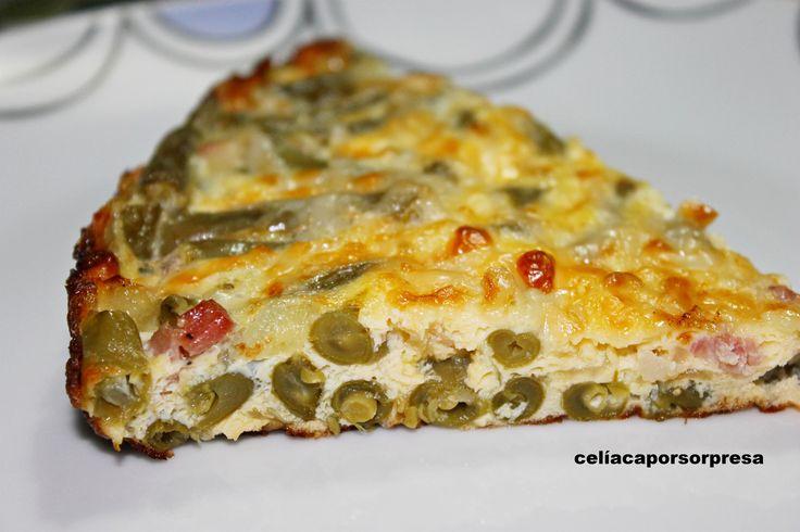 frittata italiana de judías verdes con jamón