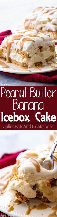 Peanut Butter and Banana Icebox Cake ~ Homemade Light & Fluffy Peanut Butter Mousse Layered with Peanut Butter Cookies and Bananas and then Drizzled with Peanut Butter! The Perfect No Bake Dessert! ~ http://www.julieseatsandtreats.com