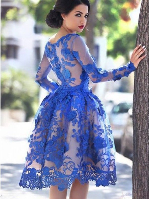 A-line Long Sleeves Royal Blue Homecoming Dress/Party Dress with Lace Appliques…