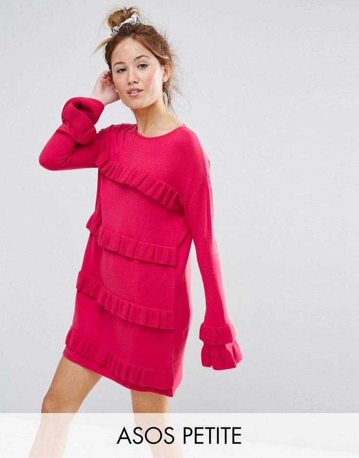 Get this Asos Petite's knitted dress now! Click for more details. Worldwide shipping. ASOS PETITE Dress With Ruffle And Fluted Sleeve - Pink: Petite dress by ASOS PETITE, Fine knit, Crew neck, Fluted sleeves, Ruffle panels, Regular fit - true to size, Machine wash, 93% Acrylic, 7% Polyester, Our model wears a UK 8/EU 36/US 4 and is 163cm/5'4 tall, Mini dress length between: 85-87cm. 5�3�/1.60m and under? The London-based design team behind ASOS PETITE take all your fashion faves and cut t...