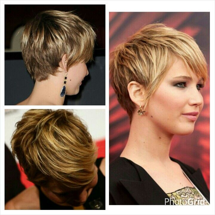 Jennifer Lawrence short hair, This haircut is cute ,I really think for her face and jaw there could be so many better choices . Im not fond of when it makes the face larger than the shape of her crown to ear. I weakens the jaw.