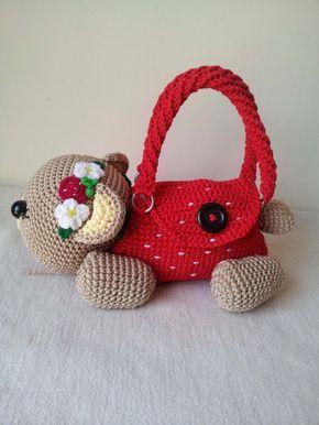 Teddybeer cherry, gift van de verjaardag van handgemaakte haak handtas, perfect om elke meisjes.