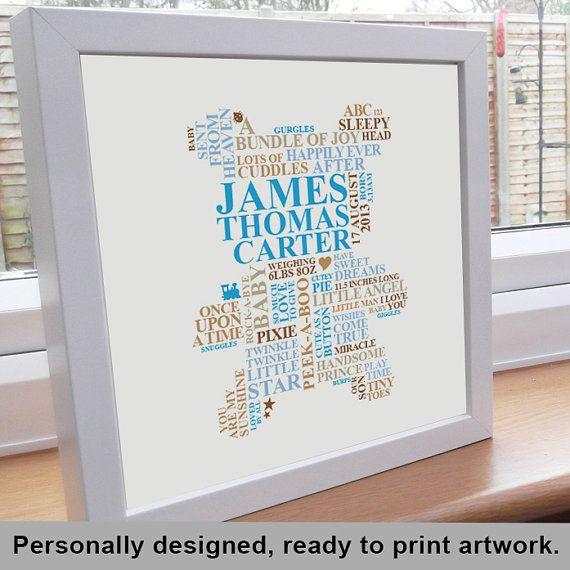 Personalised Word Art. New baby boy gift