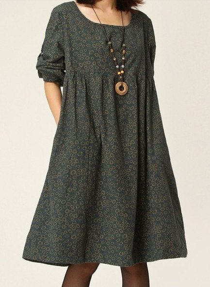 Loose Fitting Maxi Dress - Spring, Autumn  Dress in Blue Green  Orange Long Sleeve Cotton dress Linen dress for WomenC133