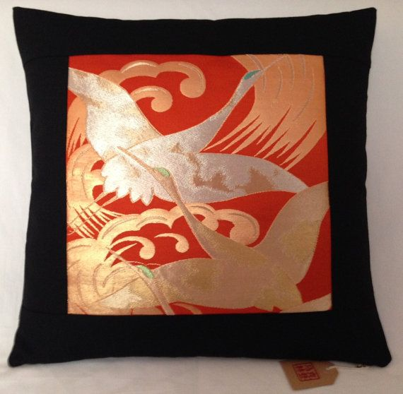 Vintage Japanese Silk Obi Panel Cushion Cover  Orange by Setsuri