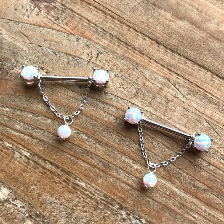 Pair of 14 Gauge/1.6mm-White fire opal 14mm Nipple barbells-925 sterling silver chain-body jewellery-gift for her