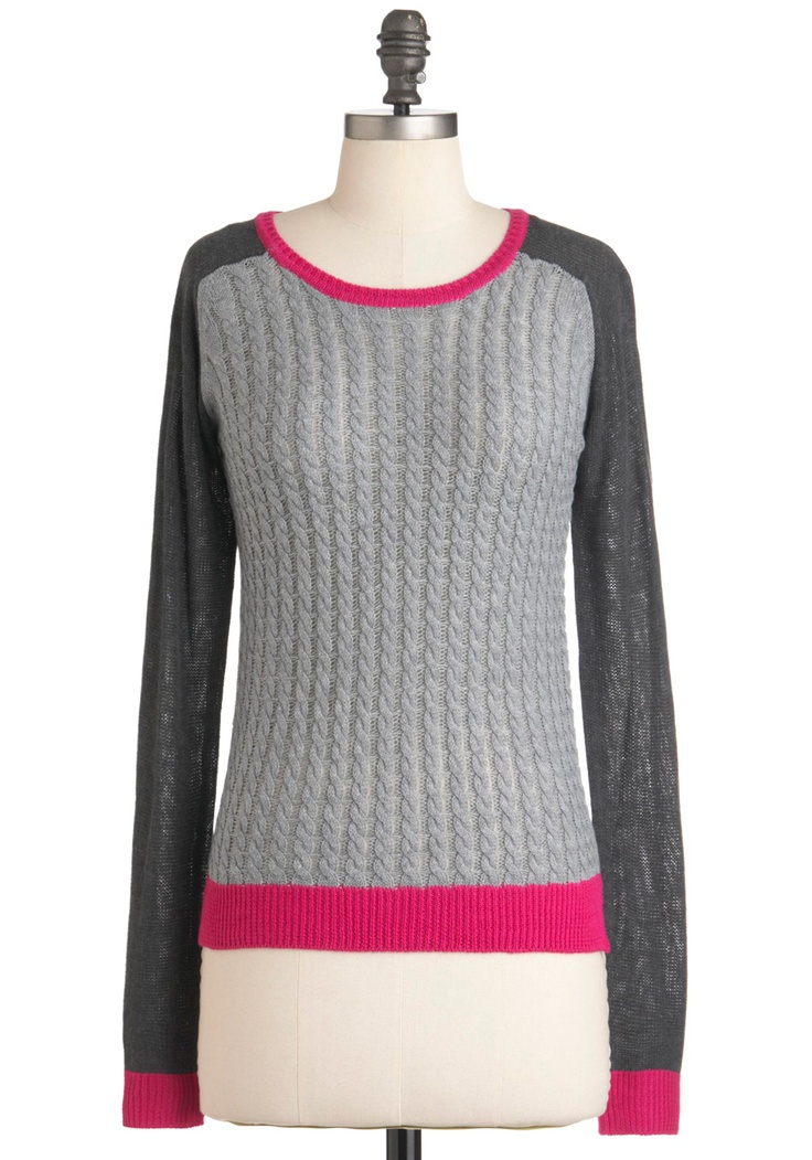 On the Marker Sweater - Mid-length, Grey, Pink, Casual, Long