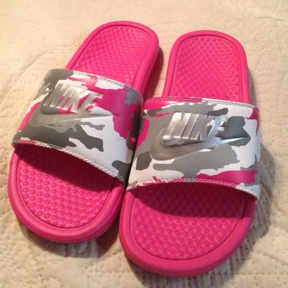 Pink nike flip flops Hot pink, gray and silver camo!!! Nike Shoes Sandals
