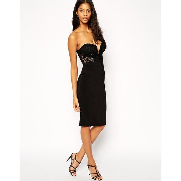 ASOS Lace Corset Bandeau Midi Pencil Dress ($35) ❤ liked on Polyvore