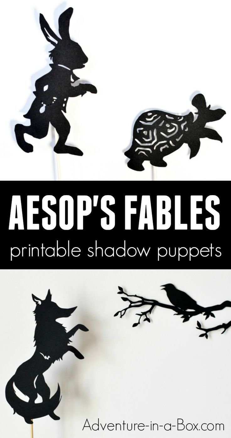 photograph about Printable Fables named Aesops Fables Shadow Puppets: Hare and Tortoise, Fox and