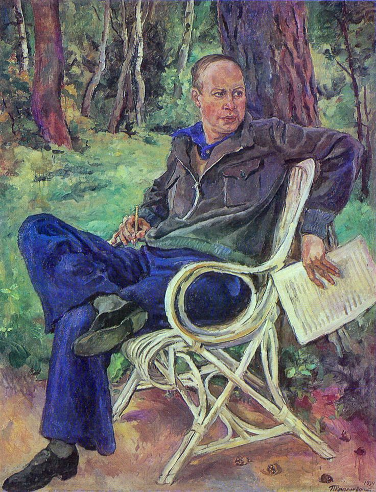 Portrait of the composer Sergei Prokofiev, 1934  by Pyotr Konchalovsky (1876-1956)...smart but casual...Prokofiev (1891-1953) was a Russian composer, pianist and conductor and is regarded as one of the major composers of the 20th century...just in case you didn't know.