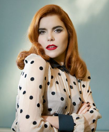 """""""My hair's brown but I'm into that 1950s pin-up stuff and you can only have blonde, red or black hair. I only really get anti-ginger comments on YouTube. Someone was offended my hair and eyebrows didn't match."""" #PalomaFaith #hair #redhair"""