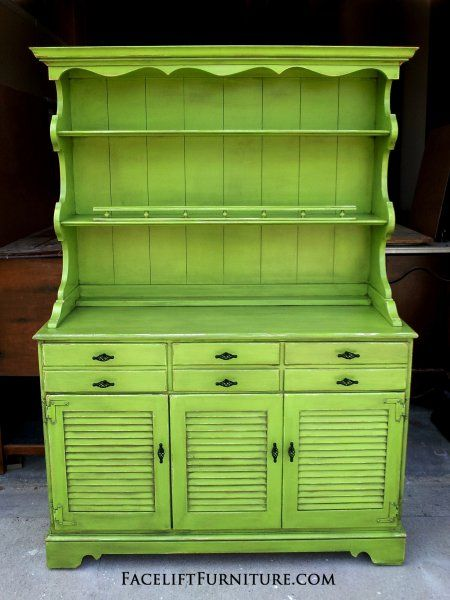 Maple Hutch in distressed Lime Green with Black Glaze. New pulls. From Facelift Furniture's Hutches, Cabinets & Buffets collection.