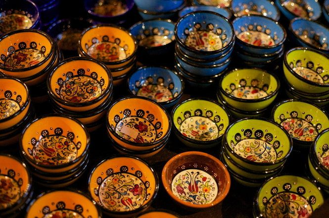 Indigo Traders specializes in high-quality home goods from the Middle East, including hand-painted pottery.