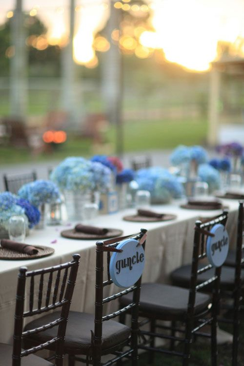 Elegant Baby Shower Bliss Blue Hydrangeas Long Tables With Signs For Guests Of Honor