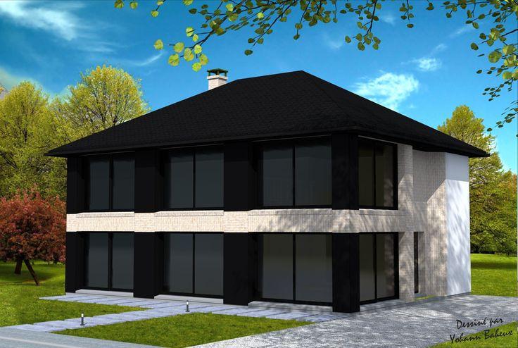 Maison cubique Maison moderne cubique avec toiture 4 pans, en enduit