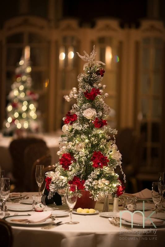 Smaller Christmas tree wedding centerpiece - will be designed with a pot at the base