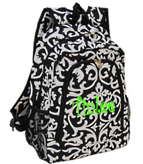 Personalized Backpack girls damask canvas by MauriceMonograms, $25.00