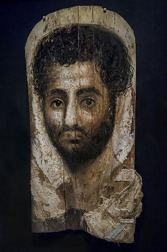 Mummy Portrait of a Bearded Man Romano-Egyptian possibly from Er-Rubayat Egypt 140-160 CE Encaustic on Wood