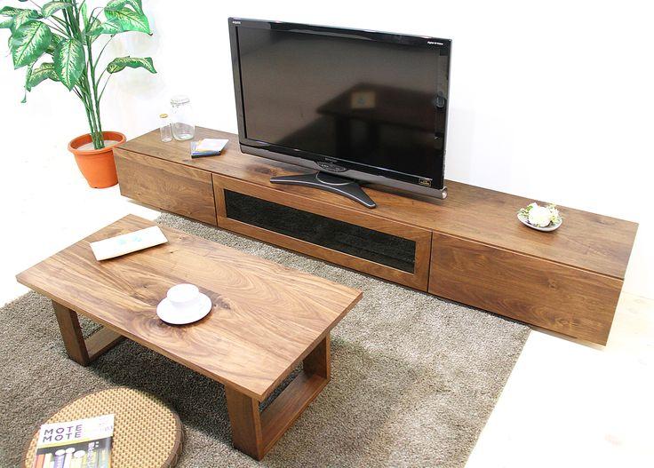 当店のテレビボード「凛(幅2400/スタンダードタイプ/ウォールナット)」です。 天然木・無垢材を活かしたシンプル、シックでモダンな高級感ある雰囲気を演出します。自然工房【kyno.jp】