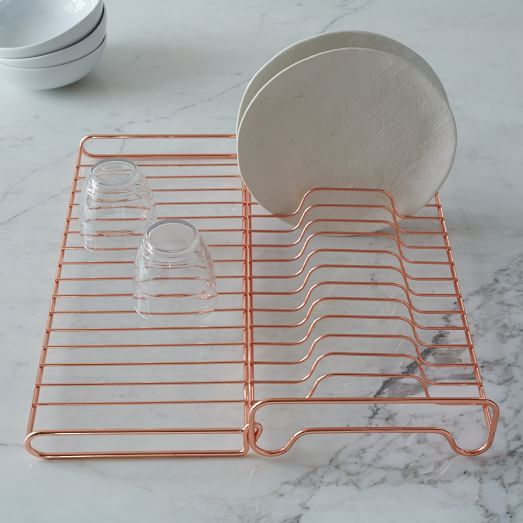 Copper Wire Kitchen Foldable Dish Rack | west elm