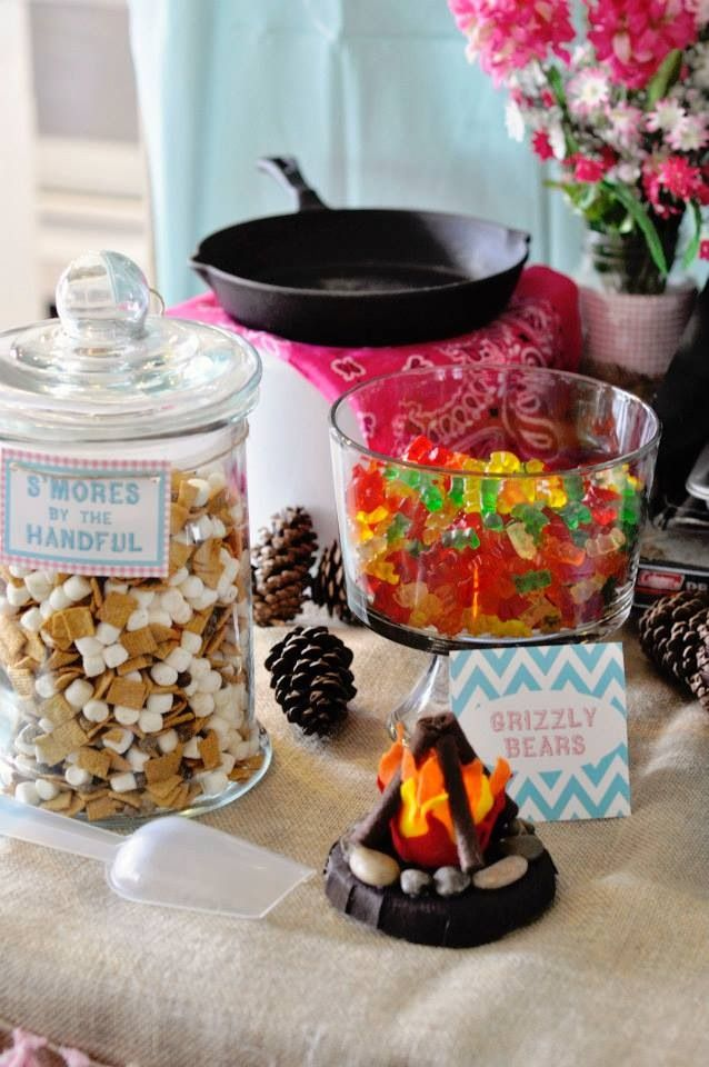 American Girl Camping/Glamping Party. Treat table.
