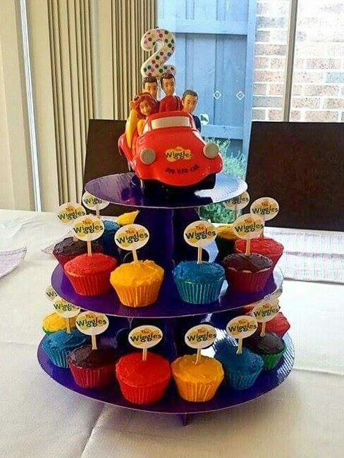Our Ollie's birthday cake - The Wiggles cupcake tower. Easy & effective, plus the big red car toy to keep & play with afterwards.