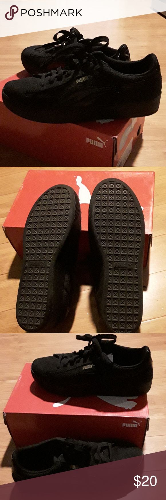 Puma Vikky Platform Puma black soft foam comfort inserts. Practically new. Wore once. Firm on the price. Puma Shoes Athletic Shoes