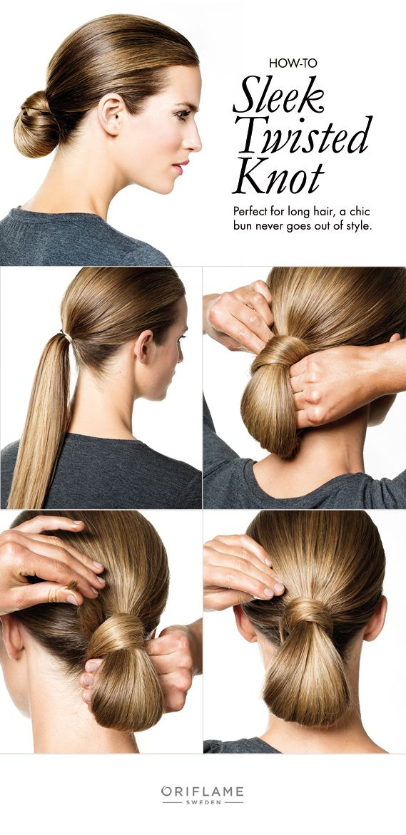 Give your usual bun a bit more sophistication with a sleek, twisted knot that's easy to do.
