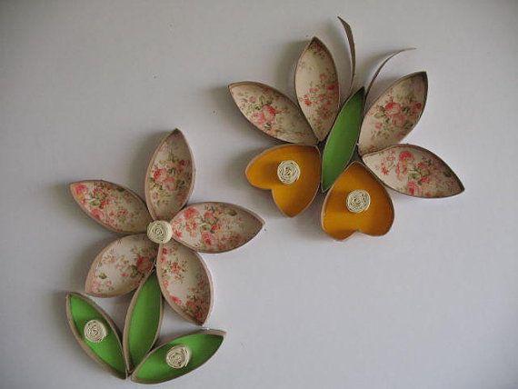 Artículos similares a Arte de la flor de pared Upcycle papel toalla rollo / rollos de papel higiénico Upcycled / arte del cuarto del bebé / Baby shawer regalo / nuevo arte cumpleaños del bebé. en Etsy