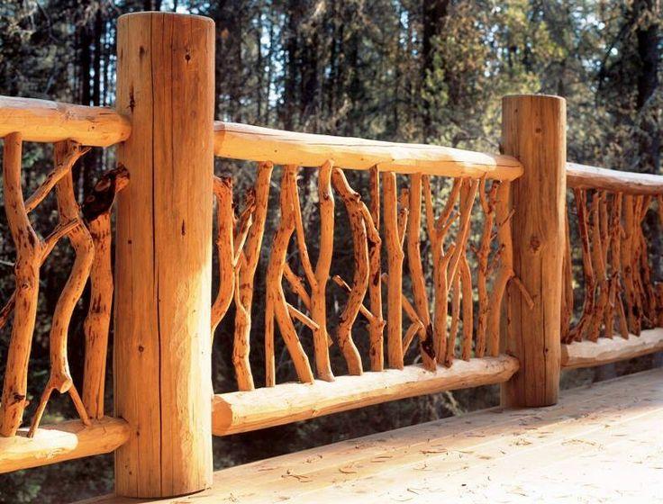 Best 8 best log home deck railing images on pinterest for Log cabin porches and decks