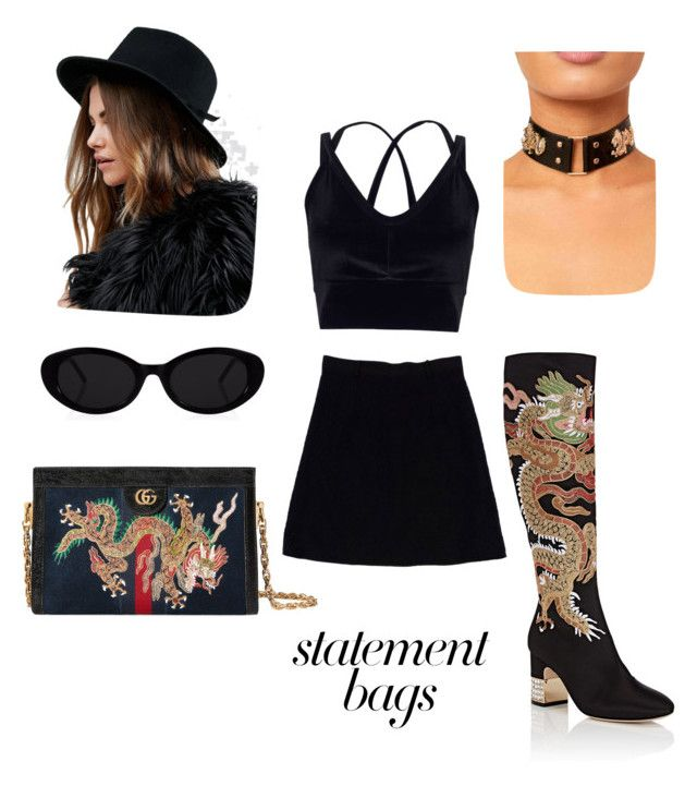 """""""Dragons"""" by bellestar7 on Polyvore featuring Gucci, Nanette Lepore, Brixton, Miss Selfridge and statementbags"""