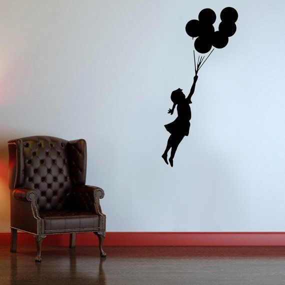 Banksy Stencil Flying Balloon Girl Girl with by IdealStencils