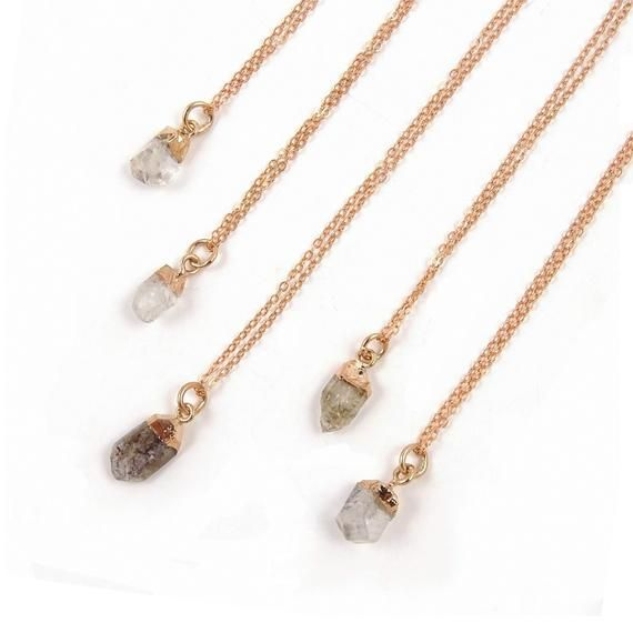 Rose Gold Herkimer Diamond Necklace // Raw April Birthstone Layering Jewelry // Minimal Elegant Gift Ideas for Woman
