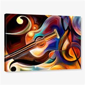 Tela em Canvas - Quadro Decorativo Pintura Violão e Clave de Sol