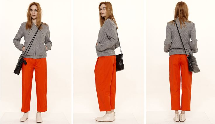 Dori Tomcsanyi quilted wool biker jacket with coral pleat front trousers.  Available from September at the webshop. http://doritomcsanyi.com/
