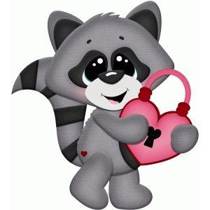 Silhouette Design Store: valentine raccoon w lock