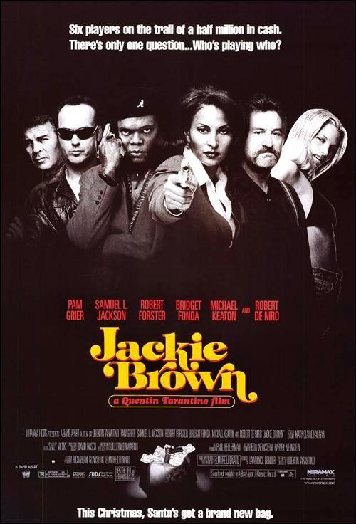 """Jackie Brown"" (1997). COUNTRY: United States. DIRECTOR: Quentin Tarantino. SCREENWRITER: Quentin Tarantino (Novel: Elmore Leonard). CAST: Pam Grier, Samuel L. Jackson, Robert De Niro, Robert Forster, Bridget Fonda, Michael Keaton, Michael Bowen, Chris Tucker, Lisa Gay Hamilton, Tommy 'Tiny' Lister, Sid Haig"