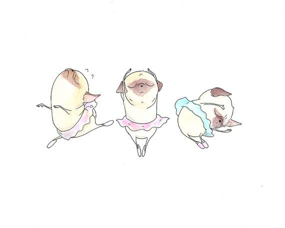 Pugs en tutu - Prima Ballerina Illustration - Ballet Art for Children - Cute Pug Ballerina Kids Art Print from INKPUG! on Etsy, $10.00