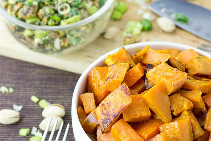 Roasted Sweet Potato Cubes with a Piquant Pistachio Dressing
