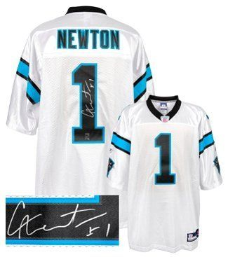 Cam Newton Autographed/Hand Signed Carolina Panthers White Reebok Premier EQT Jersey- Newton Hologra by Hall of Fame Memorabilia. $346.95. Cam Newton became just the third player in major college football history to pass for 20 touchdowns and rush for 20 touchdowns in a single season. On December 11 2010 he was awarded the Heisman Trophy as the most outstanding college football player. Drafted # 1 by the Carolina Panthers in the 2011 NFL Draft. In his NFL debut Newton beca...